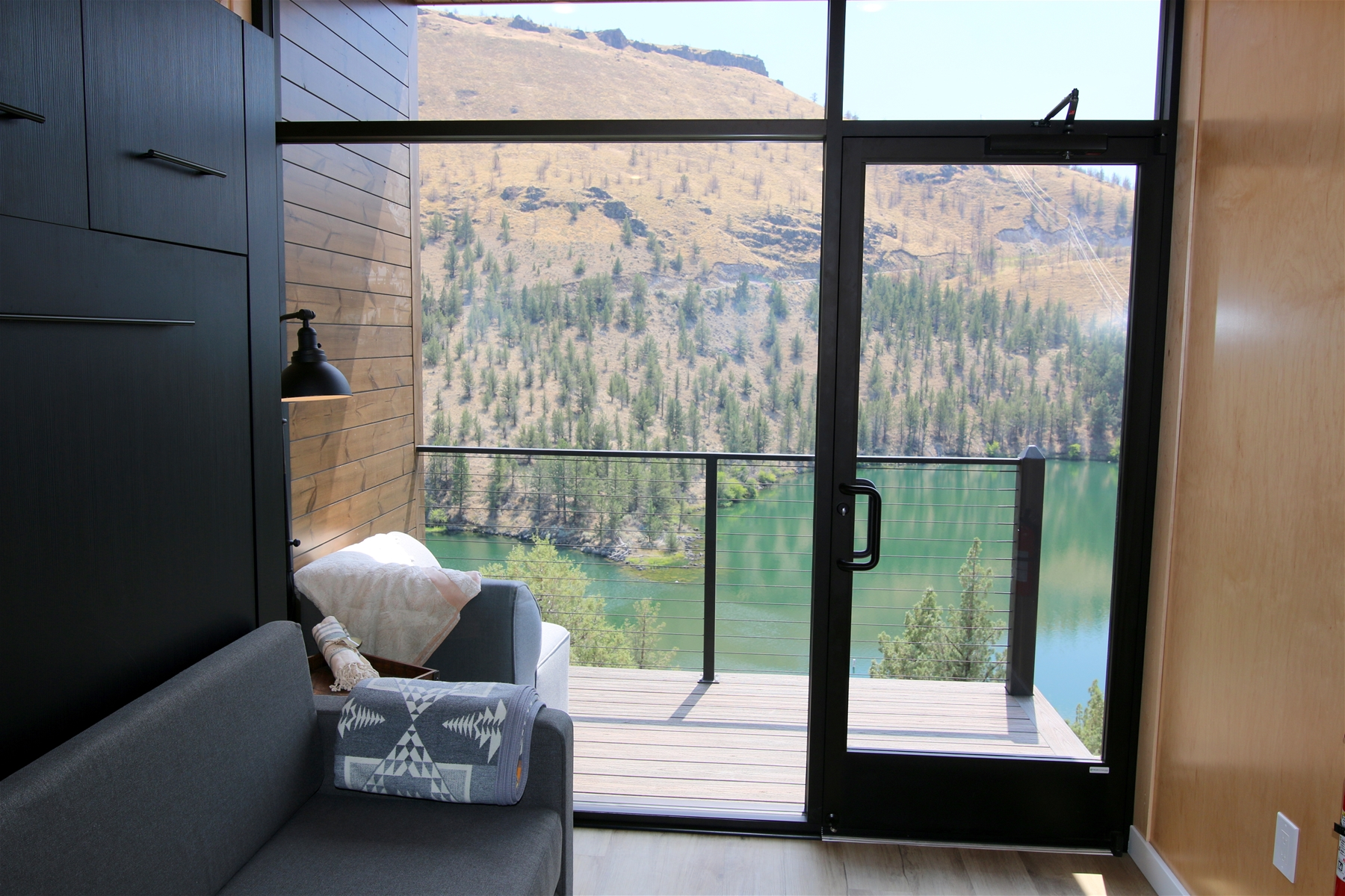 View from a Crown Point Tiny Home at Lake Simtustus Resort
